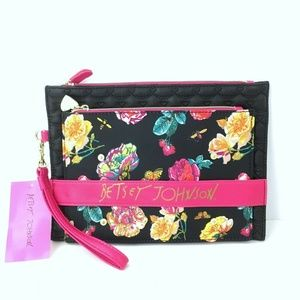 Betsey Johnson 2 Piece Floral Quilted Clutch Bag